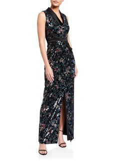 Kay Unger New York Velvet Printed Sequin Column Dress
