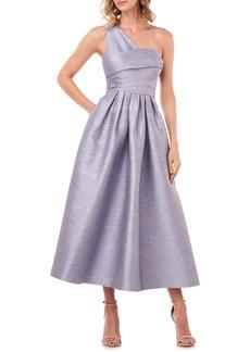 Kay Unger New York Victoire Metallic Jacquard One-Shoulder Cocktail Dress