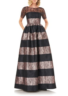 Kay Unger New York Women's Kay Unger Alexis Stripe Floral Lace Ballgown