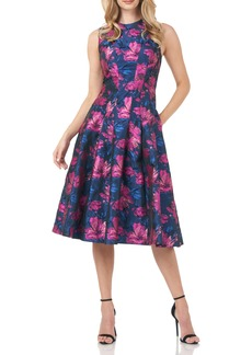 Kay Unger New York Women's Kay Unger Floral Jacquard Midi Dress