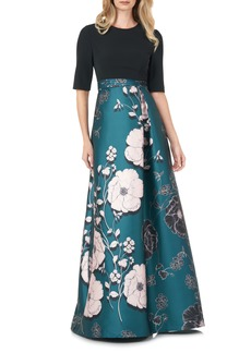 Kay Unger New York Women's Kay Unger Floral Print Mikado A-Line Gown