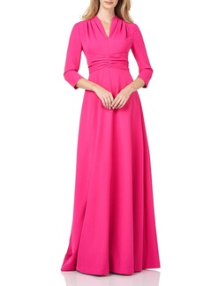 Kay Unger New York Women's Kay Unger Pleated Swan Neck Stretch Crepe Gown