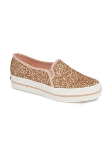 Keds® x kate spade new york triple decker glitter slip-on sneaker (Women)
