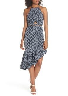Keepsake Blossom Embroidered Halter Dress