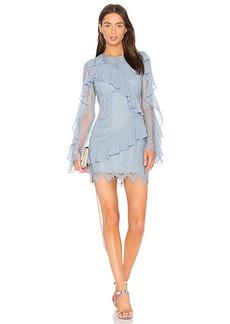 keepsake Better Days Lace Ruffle Dress in Blue. - size S (also in XXS, XS,M,L)