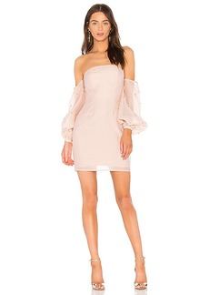 keepsake Call Me Off the Shoulder Dress in Blush. - size S (also in XXS, XS,M,L)