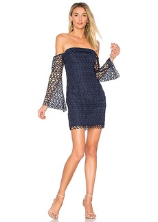 keepsake Countdown Lace Mini Dress in Navy. - size L (also in M,S,XS, XXS)