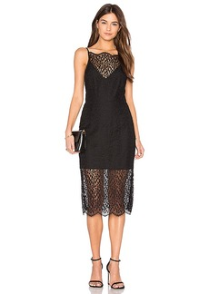 keepsake Day Dream Lace Midi Dress in Black. - size S (also in XS, XXS)