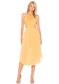 keepsake Elevate Midi Dress in Mustard. - size S (also in XXS, XS,M,L)
