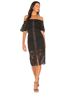 keepsake Star Crossed Lace Midi Dress in Black. - size L (also in M,S,XS, XXS)