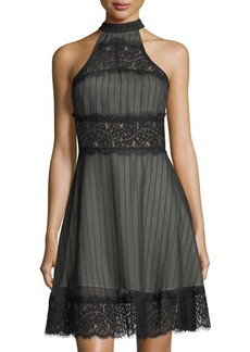 Keepsake Starstruck Mesh & Lace Halter-Neck Dress