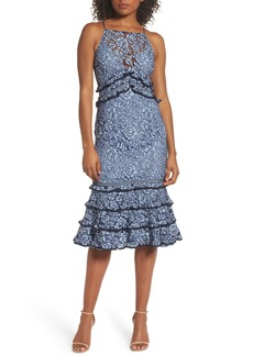 Keepsake the Label Catch Me Ruffle Lace Sheath Dress
