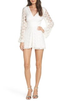 Keepsake the Label Retrospect Balloon Sleeve Embroidered Mesh Romper