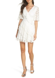 Keepsake the Label Retrospect Embroidered Mesh Ruffle Party Dress