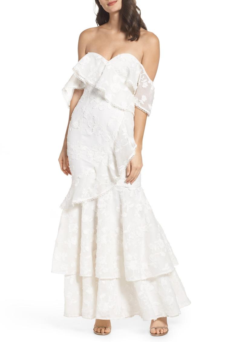 Keepsake Keepsake the Label Shine Off the Shoulder Lace Gown   Dresses