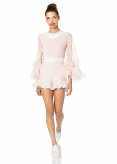 Keepsake The Label Women's All Mini Long Bell Sleeve Applique Short Romper Playsuit  S