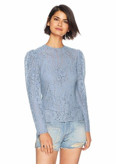 Keepsake The Label Women's All Night Crew Neck Long Sleeve Lace Top  L