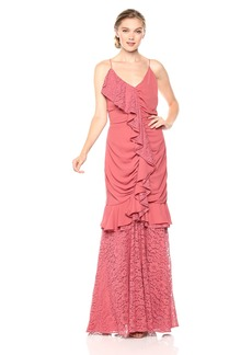 Keepsake The Label Women's All Night Sleeveless V Neck Gown with Lace Ruffle Detail  XL