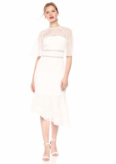 Keepsake The Label Women's Awaken Illusion Short Sleeve Lace Midi Dress  L