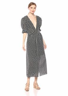 Keepsake The Label Women's Belong Puff Sleeve Button Down Flowy Midi Dress Black/W/Ivory dot S