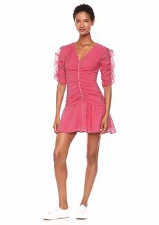 Keepsake The Label Women's Boundaries Elbow Sleeve Shirred Short Mini Dress  m