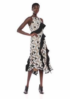 Keepsake The Label Women's Break Free Sleeveless Multi LACE Ruffle MIDI Dress  M
