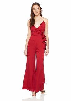 Keepsake The Label Women's Breathe WRAP TOP Ruffle Flared Dressy Jumpsuit  L