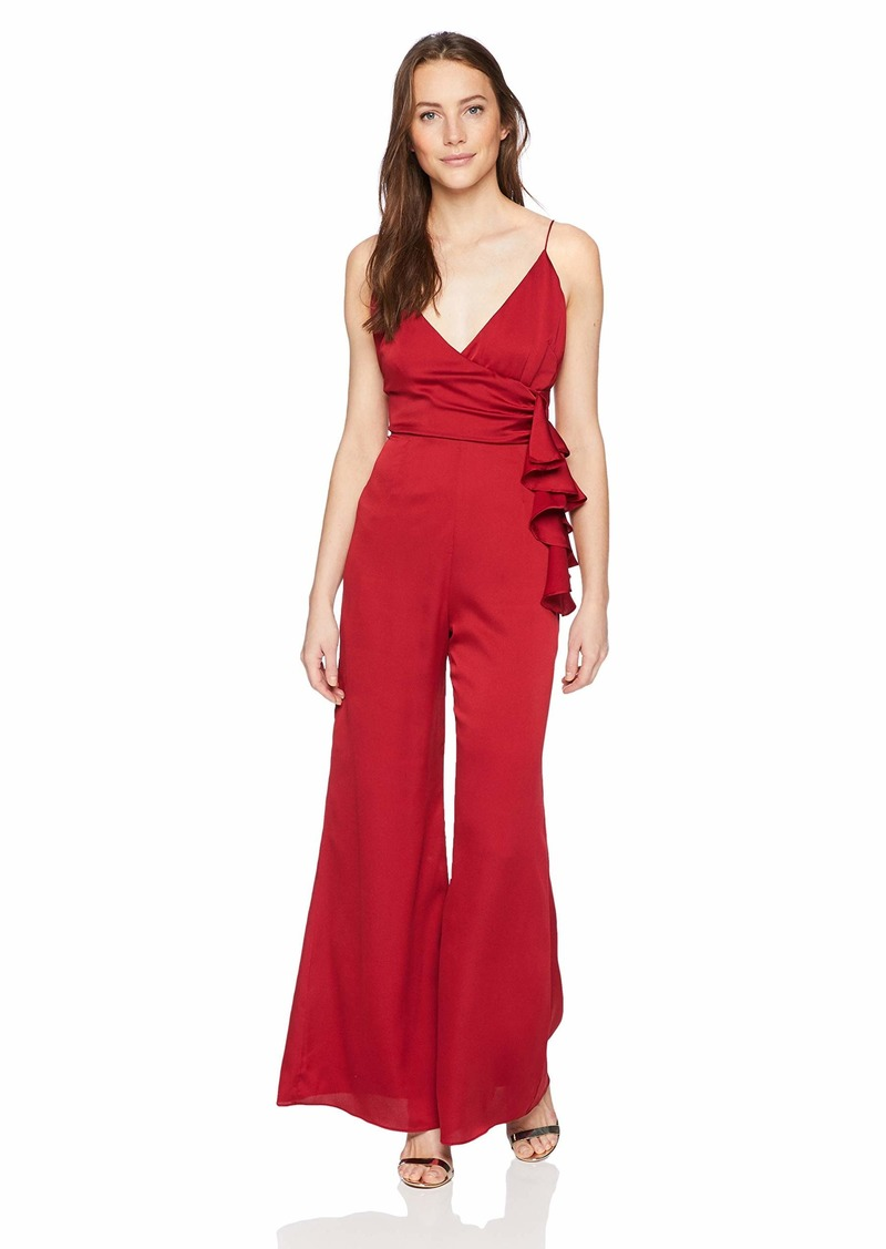 Keepsake The Label Women's Breathe WRAP TOP Ruffle Flared Dressy Jumpsuit  L