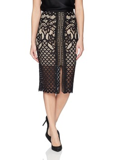 Keepsake The Label Women's Bridges Lace High Waisted Illusion Midi Straight Skirt  L