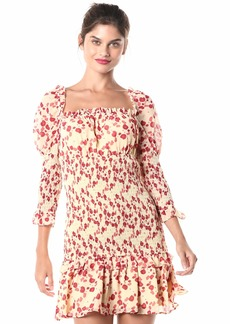 Keepsake The Label Women's Charmed Puff Sleeve Smocking Floral Short Mini Dress  S