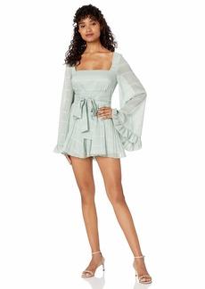 Keepsake The Label Women's Charmer Bell Sleeve Pleated Dress Romper Playsuit  S