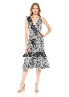 Keepsake The Label Women's Dream Catcher V Neck A LINE Ruffle MIDI Dress  XL