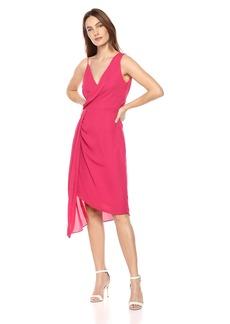 Keepsake The Label Women's DREAMLOVERS AYSMMETRIC Draped Sleeveless MIDI Dress  L