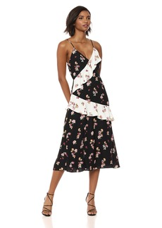 Keepsake The Label Women's Evolve Sleeveless V Neck Midi Dress with Ruffle Detail Black with Ivory Scatter Floral S