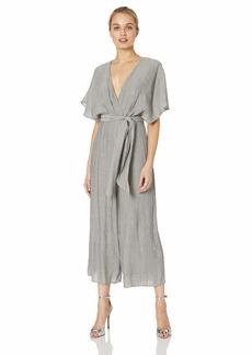 Keepsake The Label Women's Faithful Shortsleeve Faux WRAP Belted Cropped Jumpsuit  S