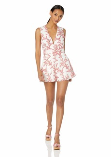 Keepsake The Label Women's Fallen Sleeveless Plunging Belted Shorts Romper Playsuit Ivory/W/red Floral L