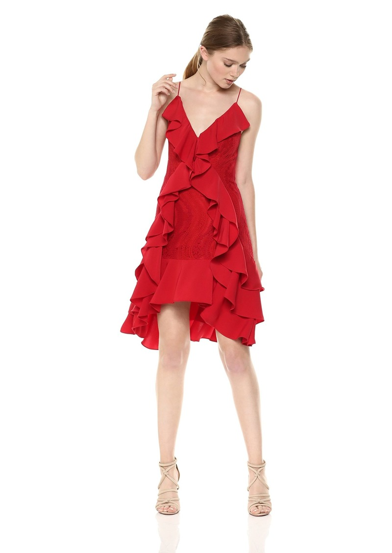 Keepsake The Label Women's Flawless Love Asymmetrical Hem Ruffle LACE Sleeveless Dress Ruby red S