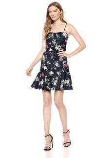 Keepsake The Label Women's for ME Ruffle Detail Ruched Sleeveless Mini Dress  L