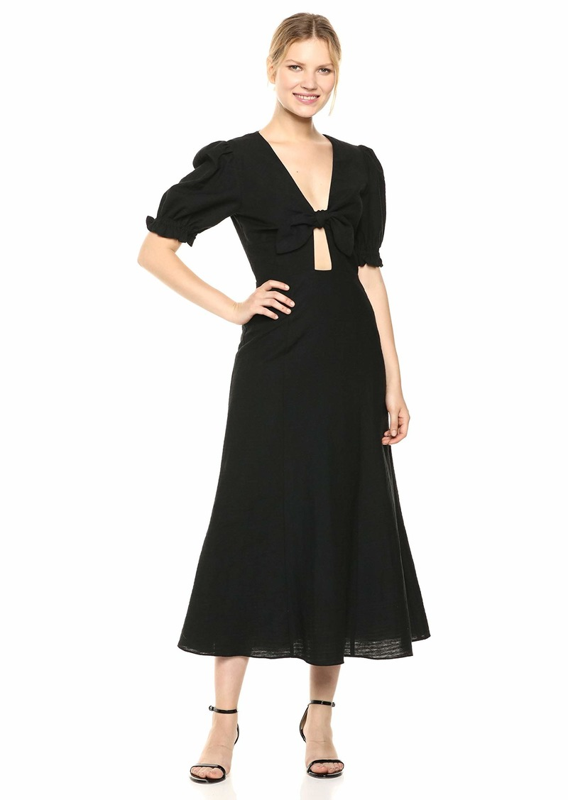 Keepsake The Label Women's Fortune Puff Sleeve TIE Front MIDI Dress  M