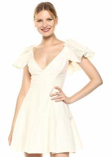 Keepsake The Label Women's Fortune Ruffle Sleeve Pleated Short WRAP Dress  M