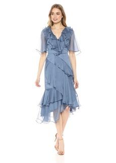 Keepsake The Label Women's Genesis Tiered Ruffle V Neck MIDI Dress  XL