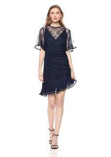 Keepsake The Label Women's GET Free Illusion Neck Short Sleeve LACE Mini Dress  L