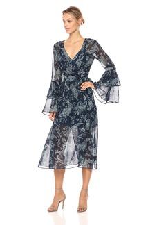 Keepsake The Label Women's Go with It Paisley Print Wrap Midi Dress Navy