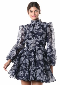Keepsake The Label Women's Halo Long Sleeve Burnout Floral Fit & Flare Party Dress  M