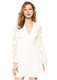 Keepsake The Label Women's Harmony Eyelet LACE Puff Sleeve Mini Dress  M