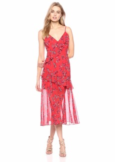 Keepsake The Label Women's Heart and Soul Sleevless Ruffle Aline MIDI Dress Small red Floral M