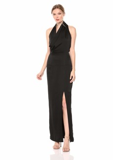 Keepsake The Label Women's Hold Back Fitted Draped Halter Gown with High Side Slit  L