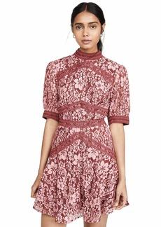 Keepsake The Label Women's Holder Short Sleeve LACE FIT & Flare Mini Dress  M