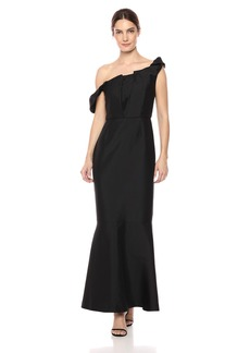 Keepsake The Label Women's Illusion Off The Shoulder Strapless Ruffle Gown  M