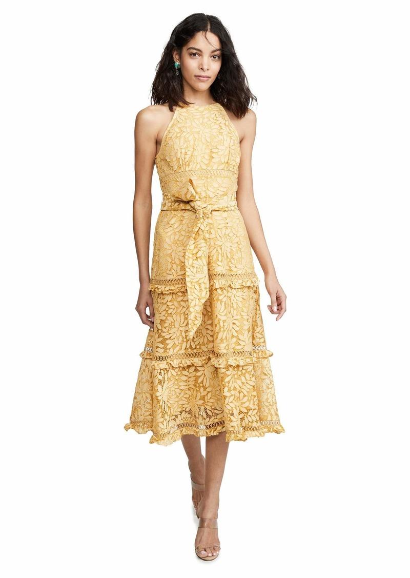 Keepsake The Label Women's Imagine Sleeveless Halter Lace Ruffle Flared Midi Dress  s